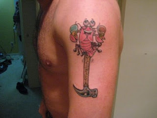 Hammer Tattoo on Arms - Funny Tattoos
