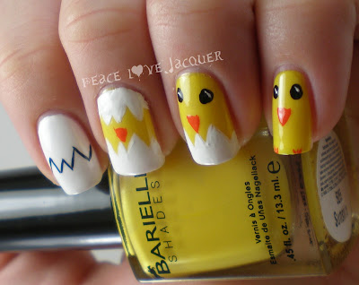 Chicks, Easter, Nail Art, Barielle, FingerPaints, Stripe Right, Sunshine, Yellow