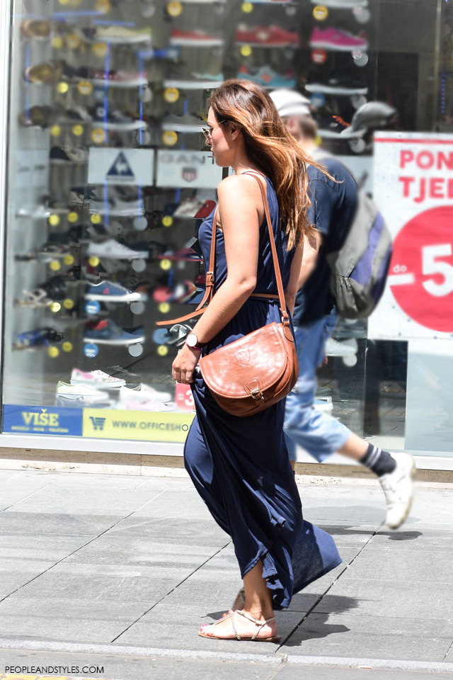 Maxi blue dress and shoulder bag street style in Zagreb, summer fashion, June 2015. What to wear to work in summer