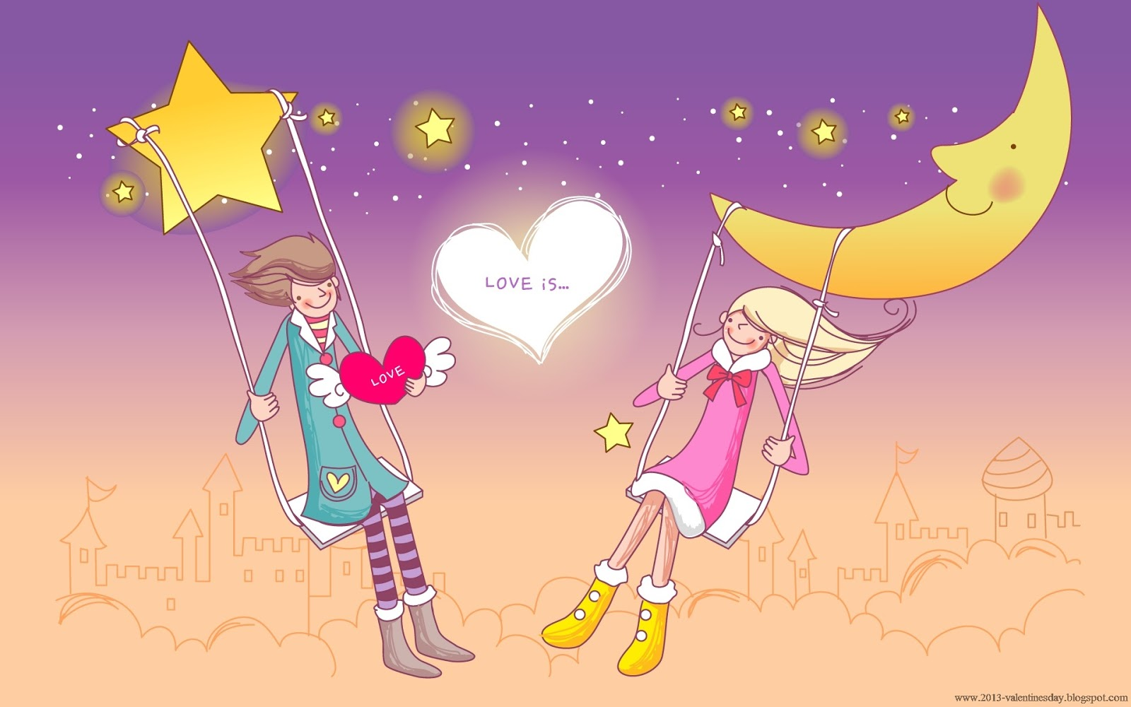 Love Wallpaper Hd cartoon : cute cartoon couple Love Hd wallpapers for Valentines day