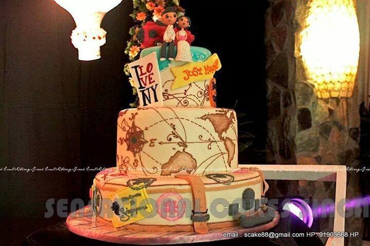 The sensational cakes travel theme wedding cake singapore wedding cake luggage theme wedding cake world traveler 4 tier wedding cake special customized handpainted world map wedding cake compass theme gumiabroncs Gallery