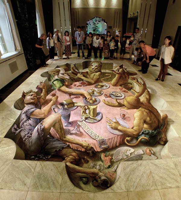 15-Circes-Banquet-Kurt-Wenner-3D-Street-Pavement-Art-Painting-www-designstack-co
