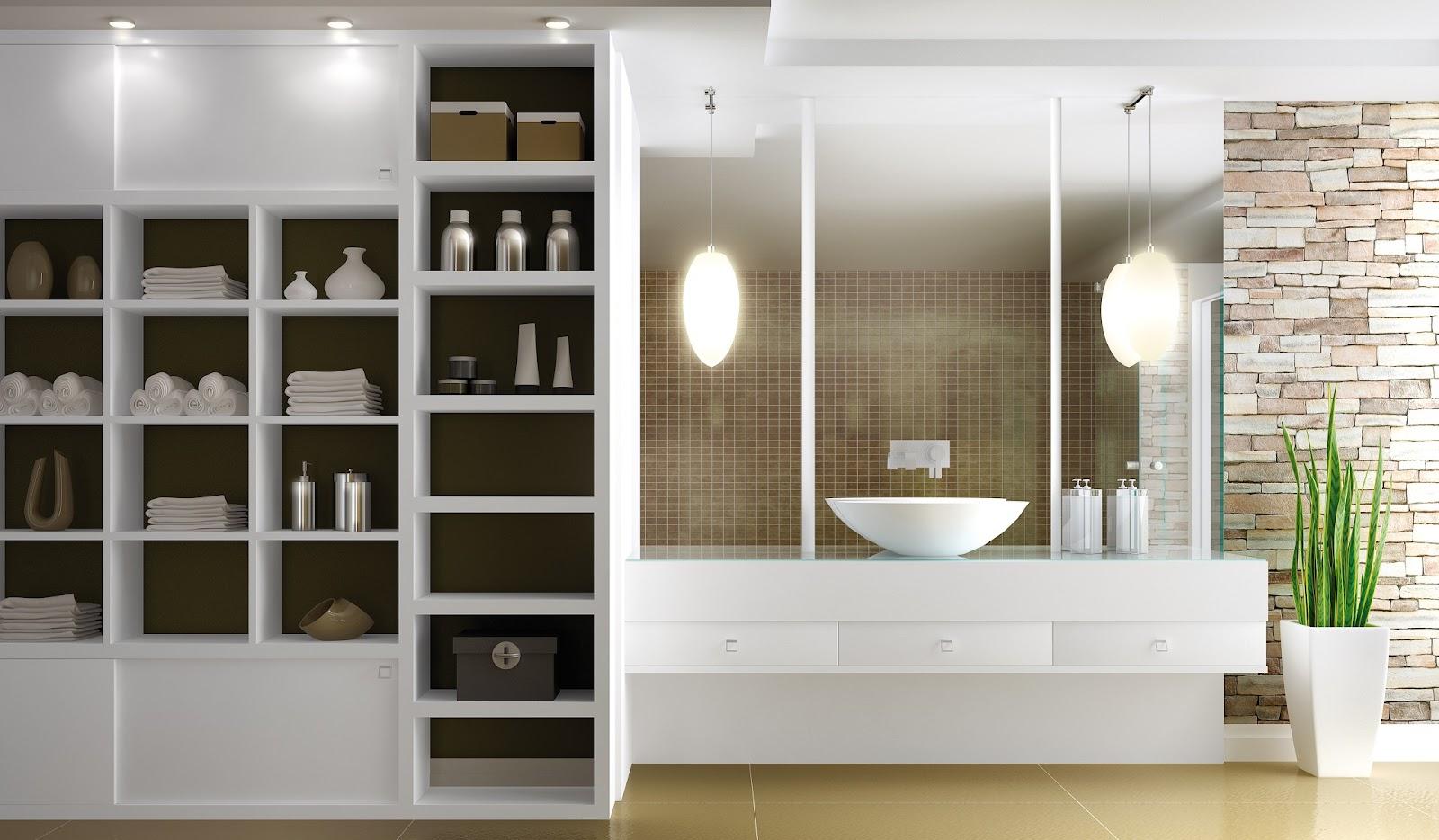 nichos planejados para a área do banheiro