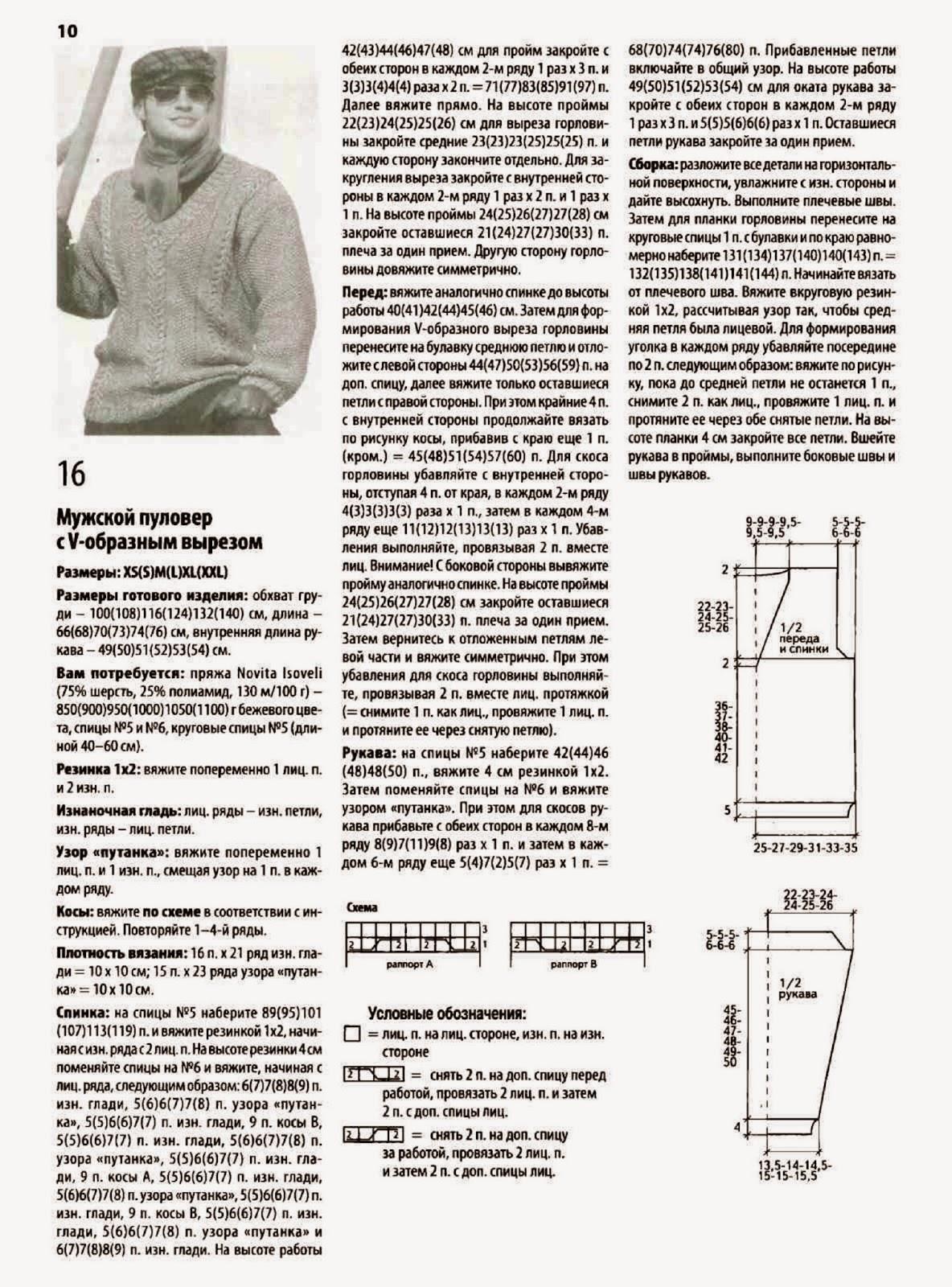 Мужской свитер с v образным вырезом схемы