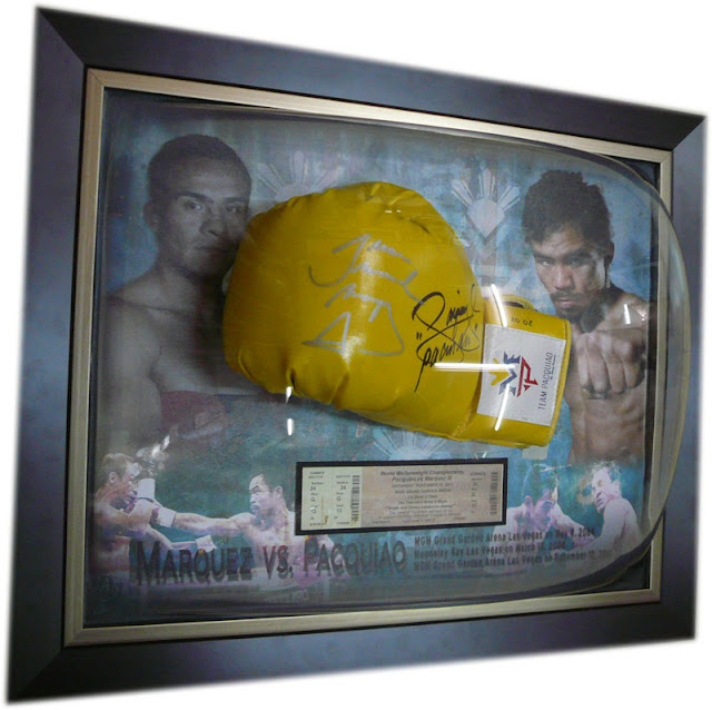 Marquez and Pacquiao, Signed Glove framed with background design
