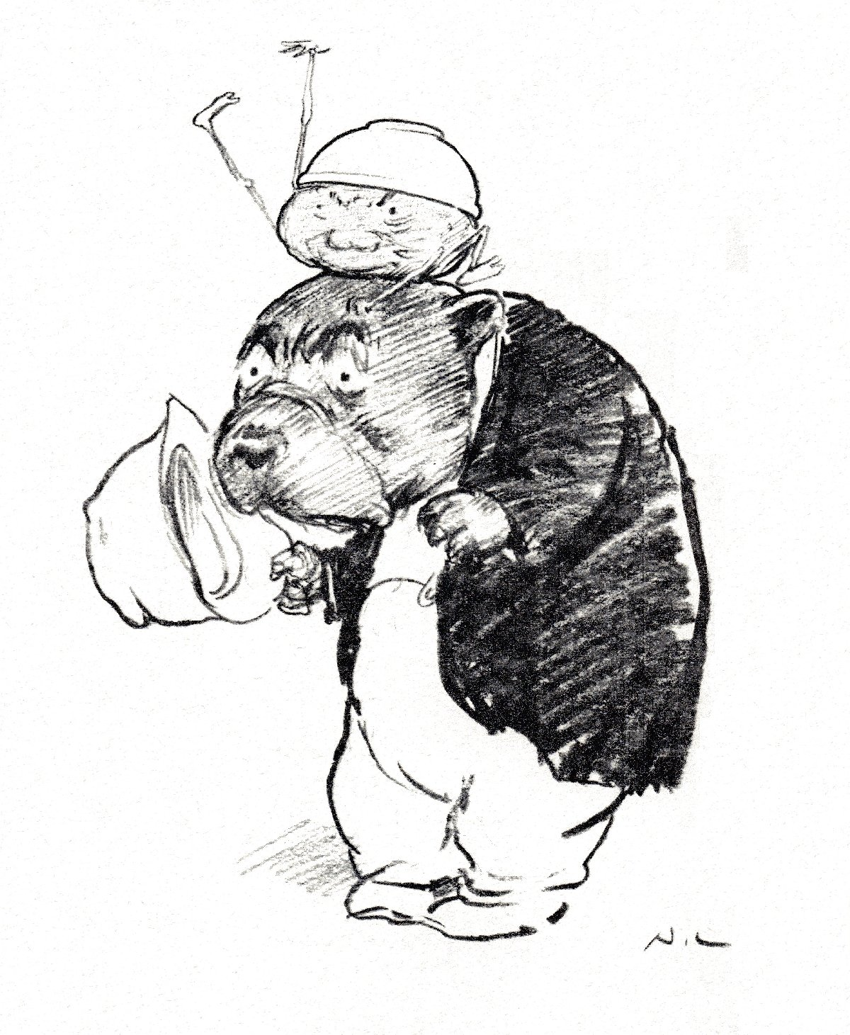 cartoon figures : pudding with stick appendages on wombat's head
