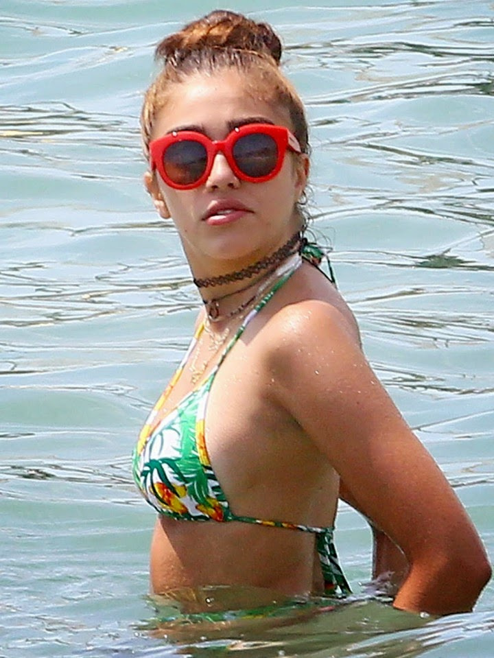 Lourdes Leon flaunts bikini body in a tropical print bikini in Cannes
