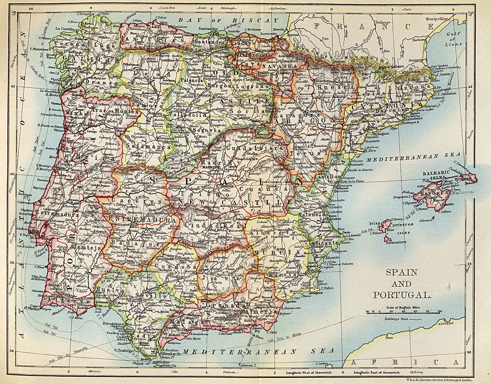 Spain and Portugal 1905 Alexander Keith Johnston