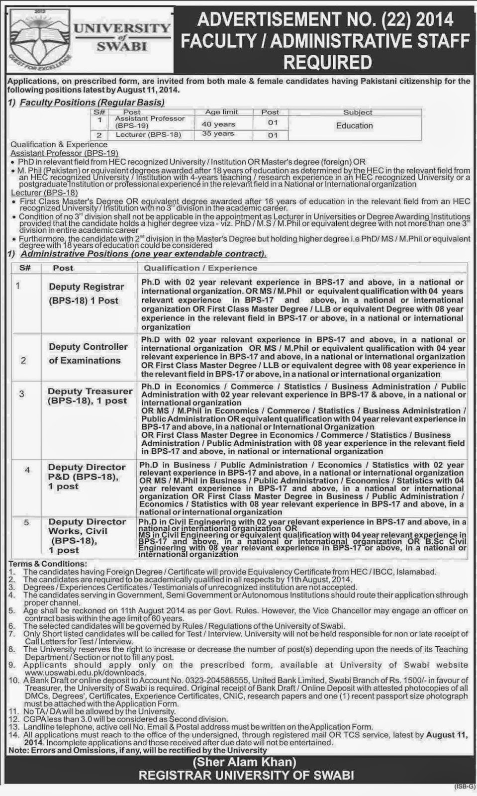 Assistant Professor, Lecturer and Deputy Director Jobs in University of Swabi, KPK