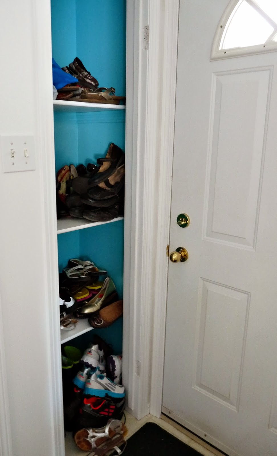 In The Townhouse We Had A Tall Shoe Rack But It Wouldnu0027t Fit Anywhere In  The Lakehouse. In The Coat Closet (photos Soon), We Have Our Small Shoe Rack  From ...