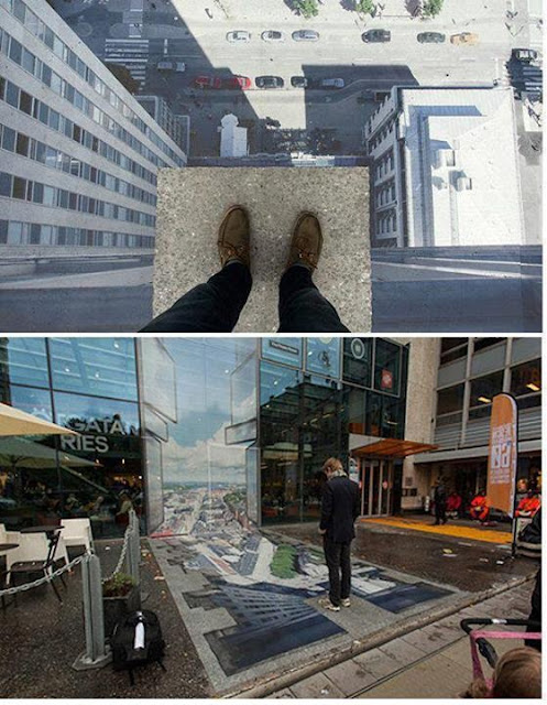 Amazing optical Illusion of height by Erik Johansson on the street. Stockholm, Sweden