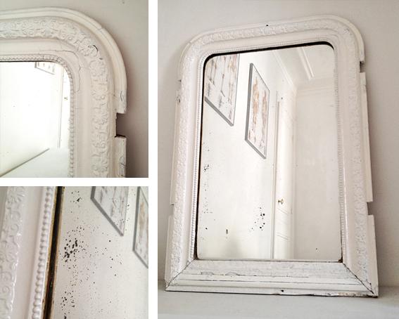 Les traficoteuses miroir ancien laqu blanc - Peindre miroir ancien ...