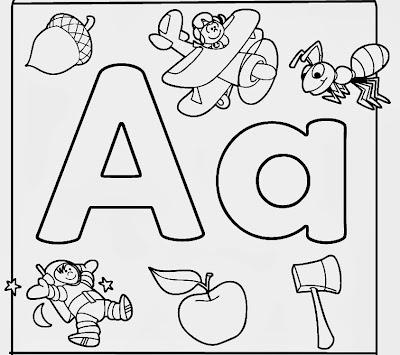 Alfabeto ilustrado em inglês para colorir, imprimir e pintar