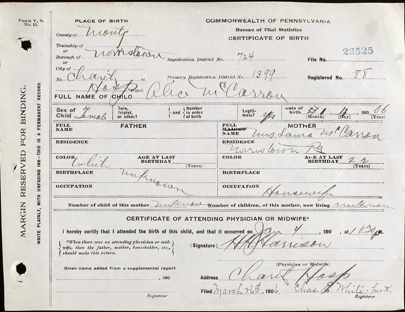 Touching Family History Finding Mccarrons Using Pa Birth Records