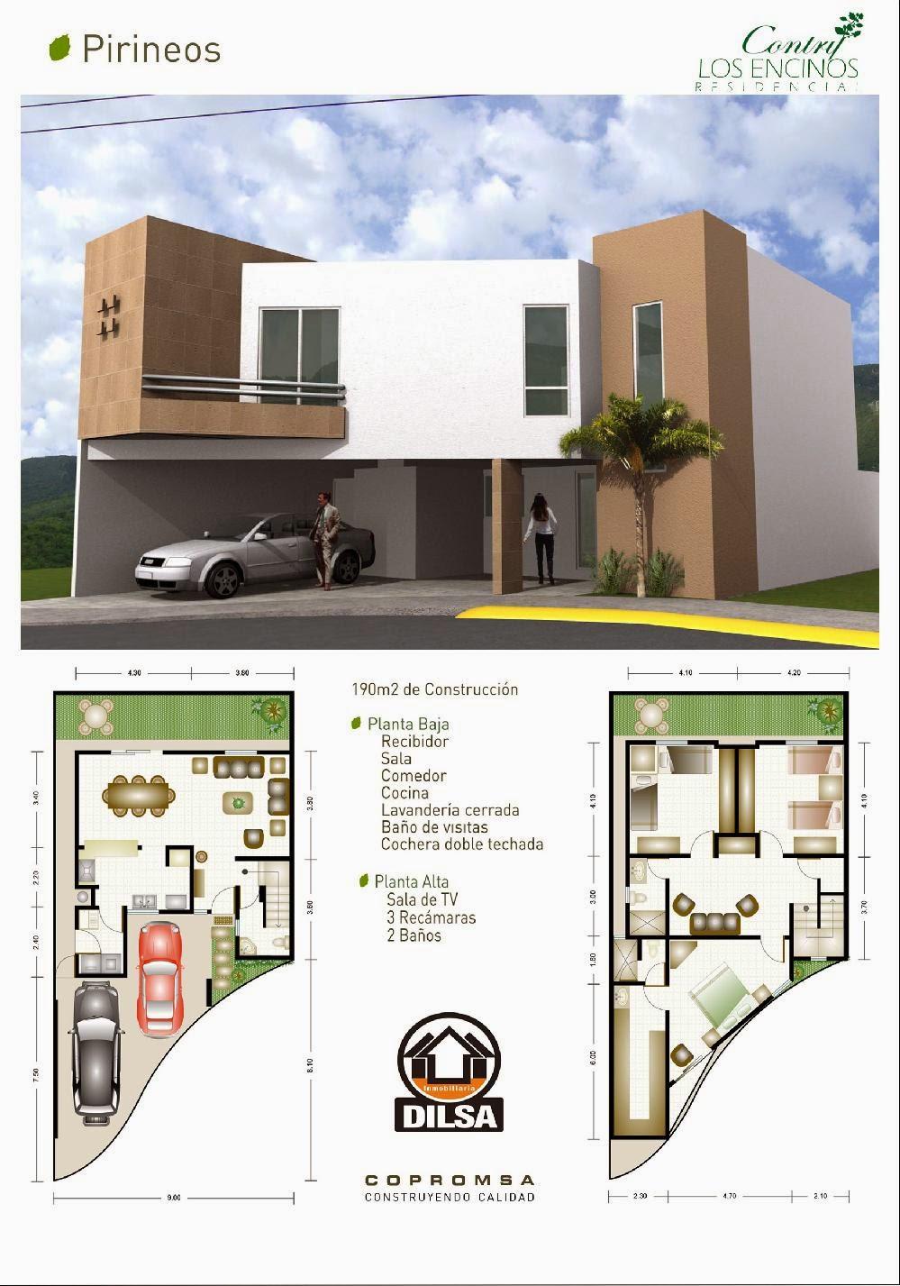Modelo Pirineos en Contry Los Encinos Residencial planos y fachadas
