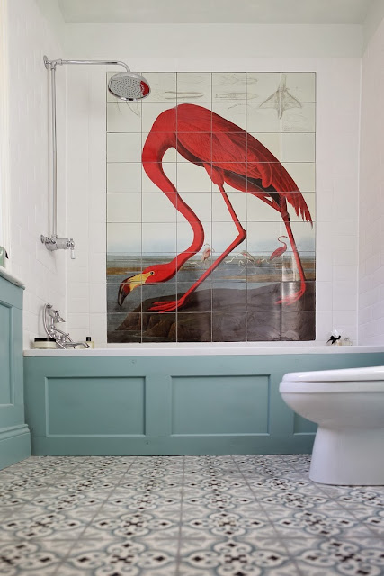 Red+flamingo+wall+tiles+in+white+bathroom+with+blue+wanescotting+and+decorative+floor+tiles