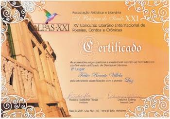 Poesia LUZ - 2º Lugar no XV Concurso Internacional de Literatura