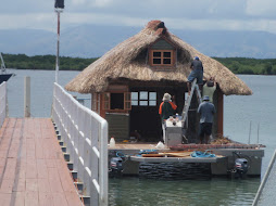 cool houseboat being repaired