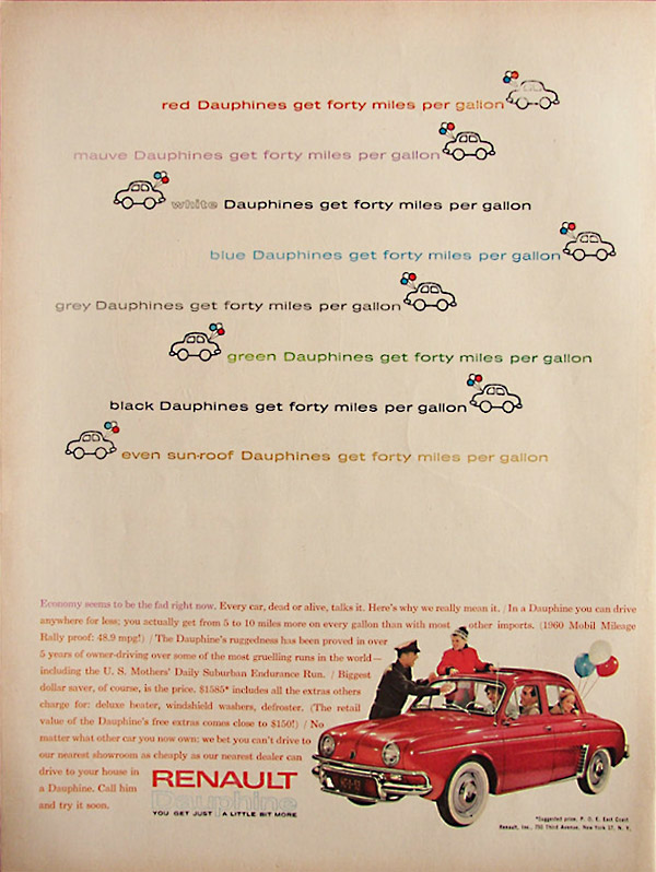 Insomniac garage classic ads 1961 renault dauphine for Garage ad chateau renault
