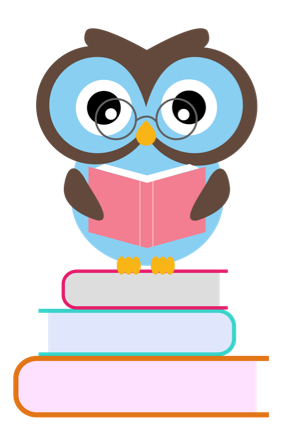 Owl standing on stack of books