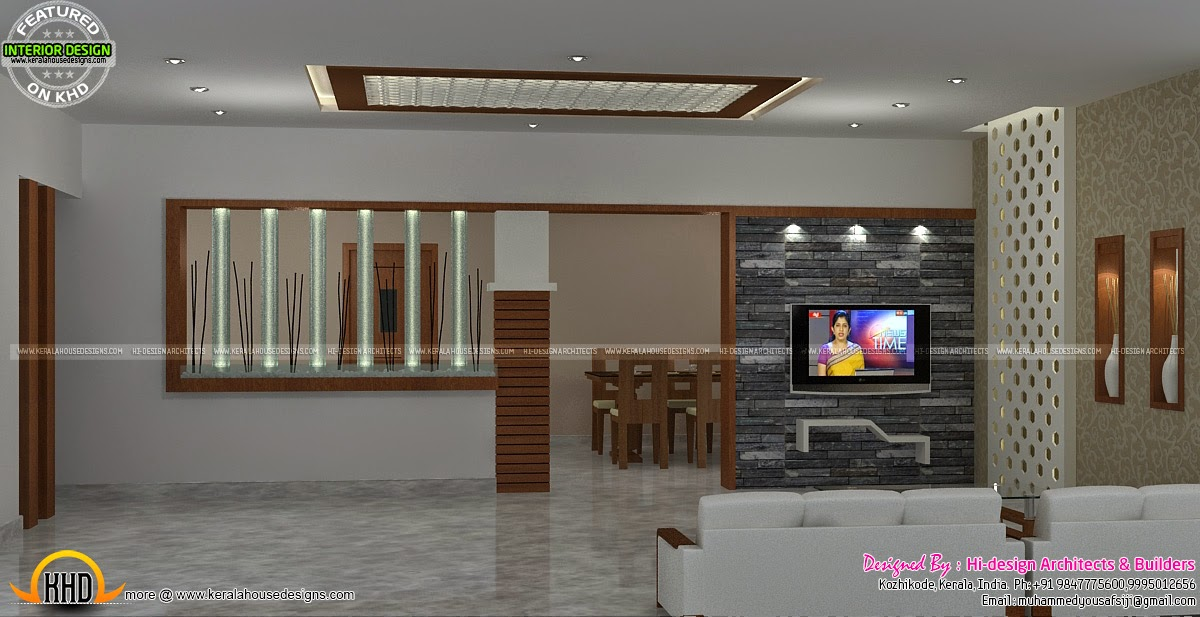 Interior bed room living room dining kitchen kerala for Living room interior designs kerala