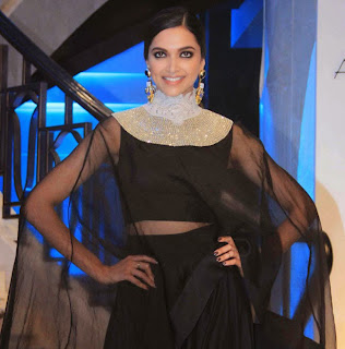 Deepika Padukone in Black Transparent Chunni and Ghagra Choli at Anamika Khanna Fashion Show at Lakme Fashion Week 2015