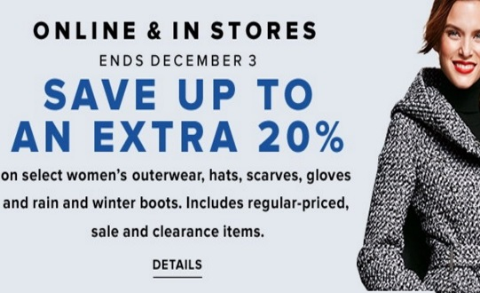 Hudsons Bay Up To 20% Off Women's Outerwear, Hats, Scares, Gloves, Rain & Winter Boots Promo Code