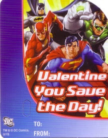Loose Justice League card from the Justice League Valentine Candy Card Kit