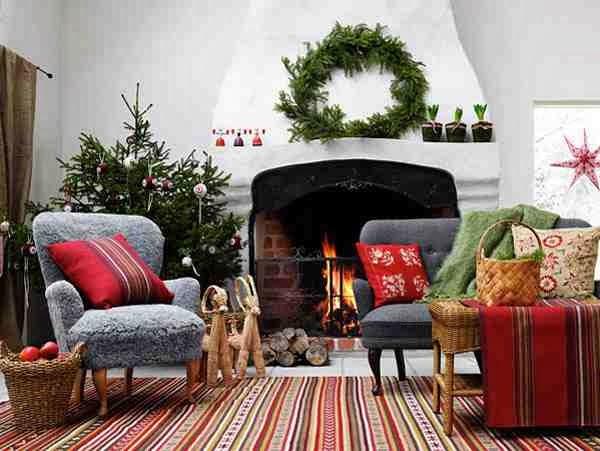 Aranżacja salonu w świątecznym klimacie