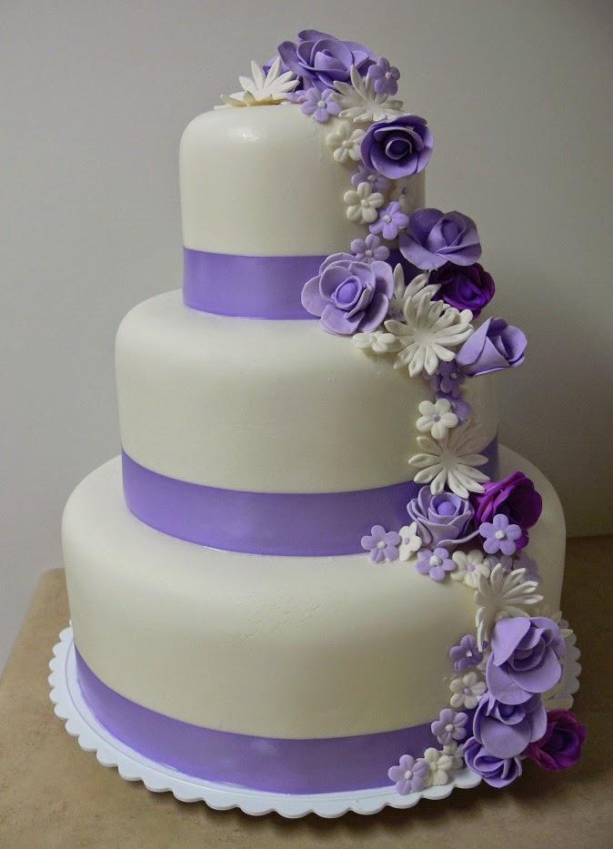 3 Tier Wedding Cakes With Purple Flowers
