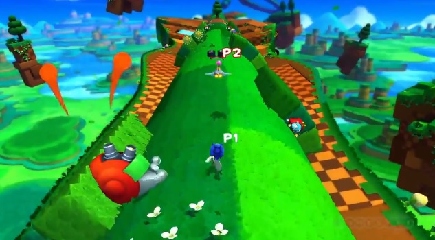 Screenshot of two player co-op mode in Wii U version of Sonic: Lost World