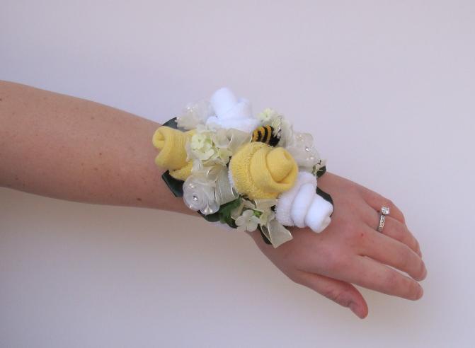 heart pears baby shower sock corsage wristlets
