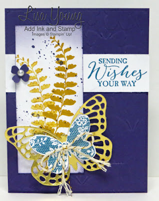 Stampin' Up! Butterfly Basics stamp set. Elegant Eggplant, Island Indigo and Gold. Handmade butterfly birthday card. Lisa Young, Add Ink and Stamp