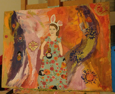 Lienzo pintado a mano En el país de las maravillas Personalizado con la figura del niño o niña que elijas