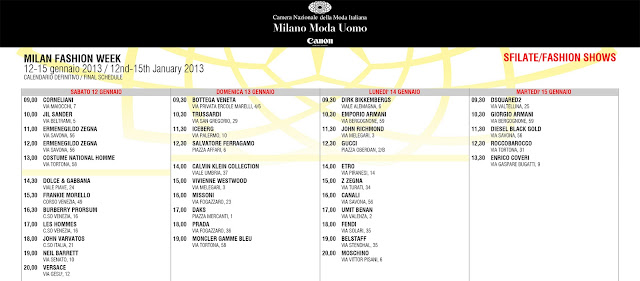 Milan Fashion Week Calendar