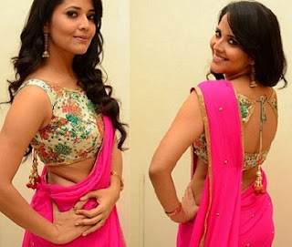 Anasuya Bharadwaj stills in Pink saree