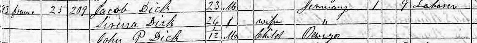 Climbing My Family Tree: Dick 1855 NY Census