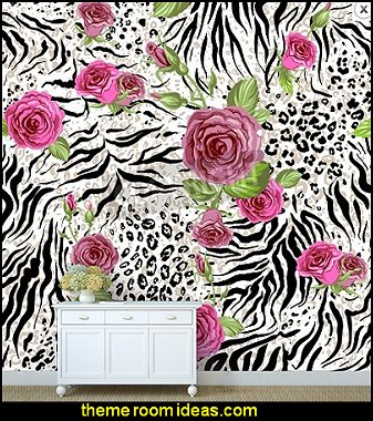 Animal Skin And Roses Wild Cats Theme Bedroom Decorating Ideas