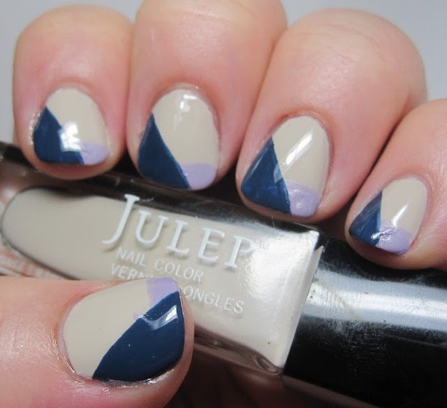 Advanced mani - Julep Debra with Alice French tip and Eloise diagonal tip