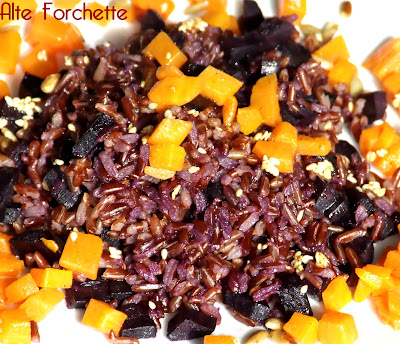 riso rosso con zucca alla cannella e carote…viola!