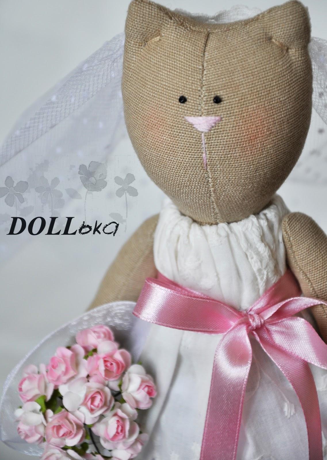 кошачья свадебная пара текстильные игрушки ручной работы