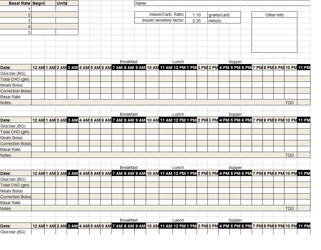 diabetic log sheet