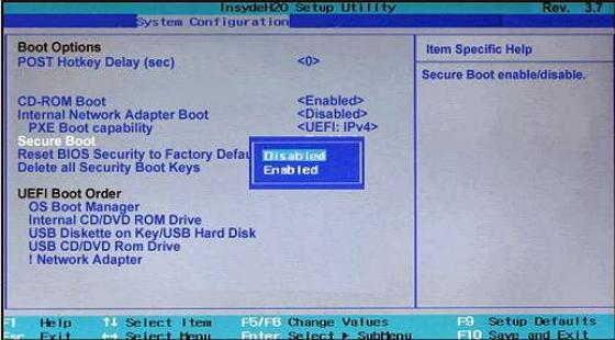 Deshabilitar Secure Boot para instalar sistema operativo en Toshiba Satellite