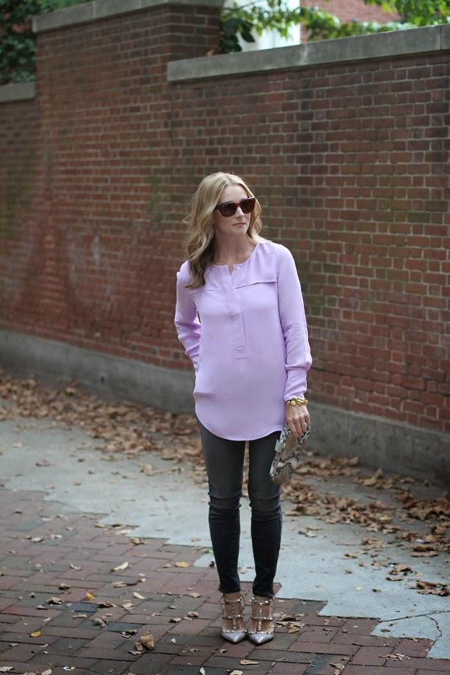 jcrew lavendar shirt, 7 for all mankind gray jeans, valentino rock stud heels, snake skin clutch, kendra scott