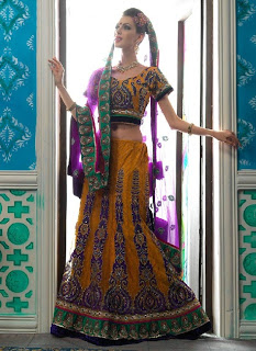 Embroidered Saree and Lehenga Choli Collection 2013-2014