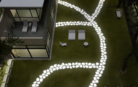 Make your garden glow with solar lights and glow in the for Spray paint rocks for garden