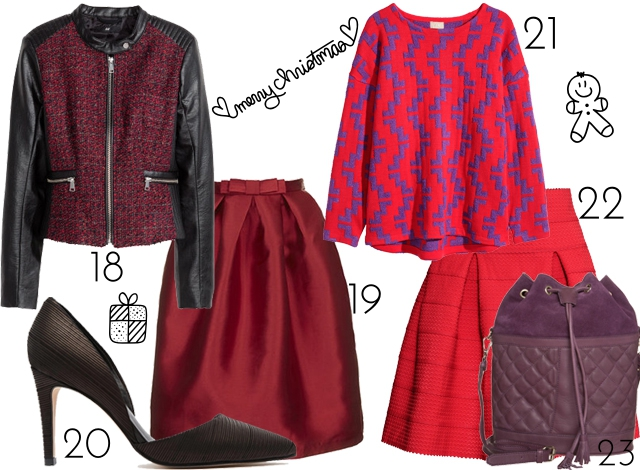 all red Christmas outfit bow skirt