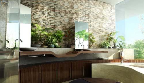 Decoracion De Baño Con Plantas:Natural Stone Bathrooms Designs