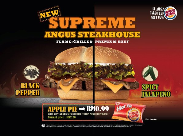 Supreme Angus Steakhouse burger king spicy jalapeno black pepper