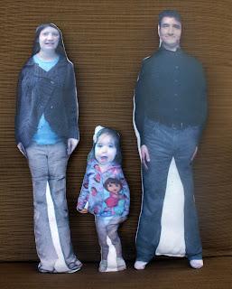 Printed fabric dolls created in Photoshop: three dolls